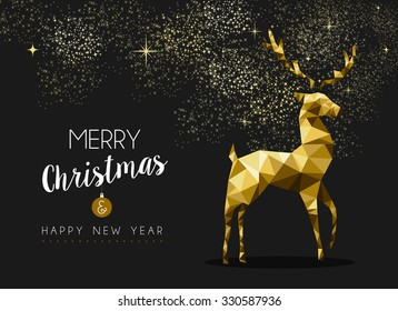 Merry christmas happy new year fancy gold deer shape in hipster origami style. Ideal for xmas card or elegant holiday party invitation. EPS10 vector.
