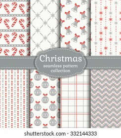 Merry Christmas and Happy New Year! Set of seamless backgrounds with traditional symbols: bells, candy cane, christmas ball, snowflakes and suitable abstract geometric patterns. Vector collection.