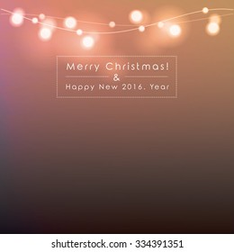 Merry Christmas and Happy New Year vector illustration with copy space. Bright abstract blurred Christmas lights isolated on dark background.