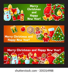 Merry Christmas and Happy New Year sticker banners.