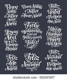 Merry Christmas and Happy New Year lettering set in different languages: Portuguese, Italian, Spanish, French, German, English. Holidays vintage calligraphy for invitation, greeting card, prints