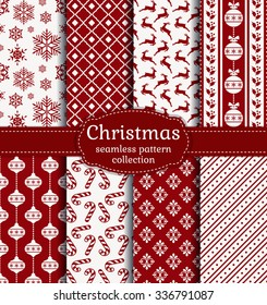 Merry Christmas and Happy New Year! Red and white seamless backgrounds with traditional holiday symbols: christmas ball, deer, snowflakes, candy cane, holly and suitable abstract patterns. Vector set.
