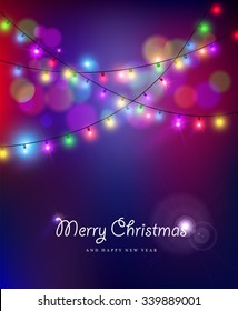 Merry christmas happy new year card design with festive xmas lights and colorful blur bokeh elements in the background. Ideal for holiday greetings, web, or poster. EPS10 vector.