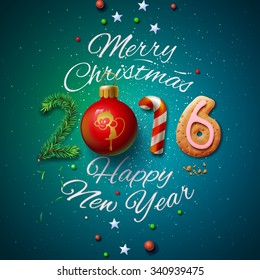 Merry Christmas and Happy New Year 2016 greeting card, vector illustration.