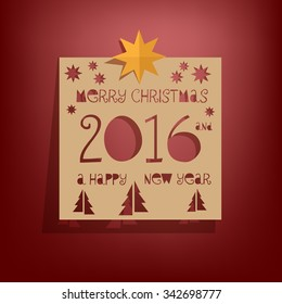 Merry Christmas and Happy New Year 2016 - paper cut out design greeting card, vector illustration. Red background.
