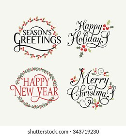 Merry Christmas & Happy New Year, Happy holidays greeting card. Lettering celebration logo set. Typography for winter holidays. Calligraphic poster on blurred textured background. Postcard motive