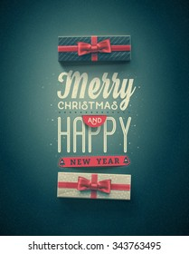 Merry Christmas and Happy New Year, greeting card, eps 10