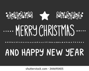 Merry christmas and happy new year. Blackboard