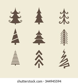 Merry christmas and happy new year. set of trees. Vector icons for your design