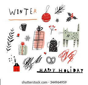 Merry Christmas and Happy New Year decorative set. Hand drawn holiday elements. Vector. Isolated.