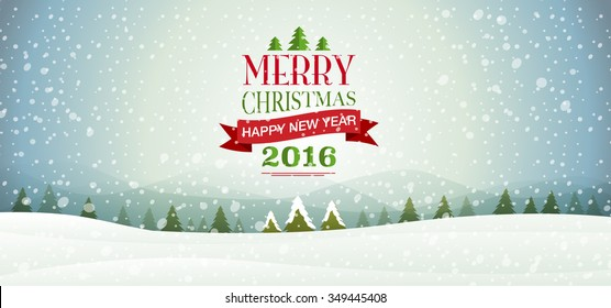 merry Christmas & happy new year 2016, Type, snowflakes, Landscape background & texture