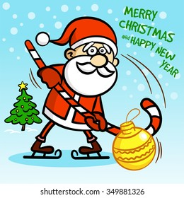 Merry Christmas. Happy New Year. Vector illustration. Santa Claus