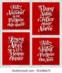 Merry Christmas and Happy New Year lettering set in different languages: Portuguese, Italian, Spanish, French. Holidays vintage calligraphy for invitation and greeting card, prints and posters