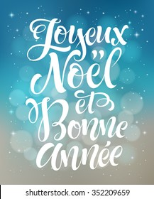 Merry Christmas and Happy New Year text in French: Joyeux Noel et Bonne Annee. Vector lettering for invitation, greeting card, prints. Hand drawn holidays design