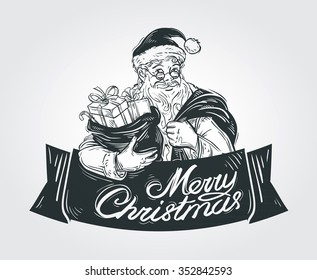 Merry Christmas and Happy New Year vector logo design template. Santa Claus or holiday icon