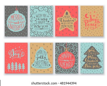 Merry Christmas and Happy New Year cards set, Vintage hand drawn typographic backgrounds with different patterns and elements as xmas ball, star, tree and jingle bell, Creative vector illustration.