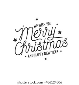 merry christmas and happy new year lettering template monochrome greeting card or invitation wish