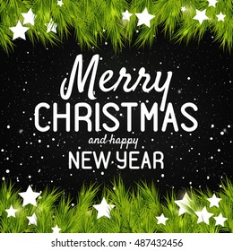Merry Christmas And Happy New Year vector greeting card Vintage Christmas Background With Typography
