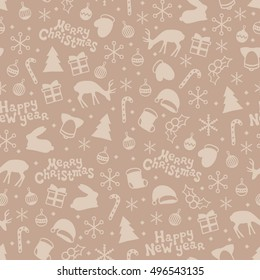 Merry Christmas and Happy New Year 2017. Season hand drawn seamless pattern. Vector illustration. Doodle style. Decorations. Winter holiday backgrounds for design.
