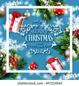 merry christmas happy new year invitation stock vector royalty free