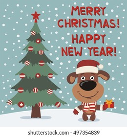 Merry Christmas and Happy New year! Funny puppy dog in red hat with gift in cartoon style. Greeting card.