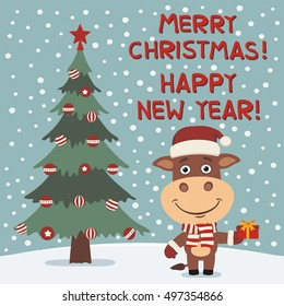 Merry Christmas and Happy New year! Funny cow in red hat with gift in cartoon style. Greeting card.