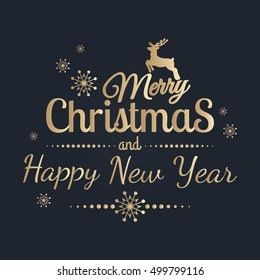 Merry Christmas and Happy New Year. Golden Congratulations card. Vector illustration