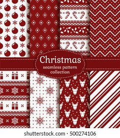 Merry Christmas and Happy New Year! Set of red and white seamless backgrounds with holiday symbols: candy cane, deer, holly, snowflakes, christmas ball, gift and abstract patterns. Vector collection.