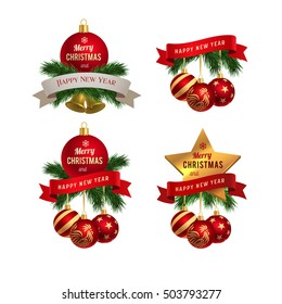 """""""Merry Christmas and Happy New Year 2017"""" greeting card logo, vector graphic illustration set, isolated on white."""