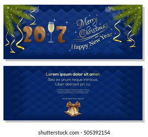 Christmas greeting card christmas wreath winter stock vector merry christmas and a happy new year 2017 dark blue christmassy backgrounds with fir branches m4hsunfo