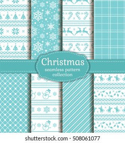 Merry Christmas and Happy New Year! Set of seamless backgrounds with winter holiday symbols: candy cane, xmas tree, deer, holly, bells, snowflakes, snowmans and abstract patterns. Vector collection.