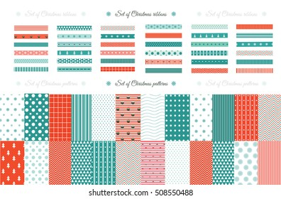 Merry Christmas and Happy New Year Set of Classic Christmas patterns with red, green and white colors. Vector illustration. Big collection of 21 winter holiday backgrounds.