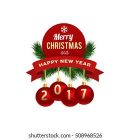 merry christmas and happy new year logo greeting card vector illustration isolated - Merry Christmas Logos