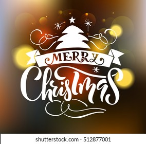 Merry Christmas & Happy New Year greeting card. logo,badge. Typography which is connected with winter holidays.  calligraphy, icon,poster