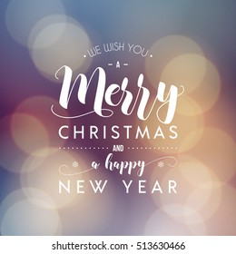 Merry Christmas and Happy New Year greeting card. Modern calligraphy lettering. Typographic vector design, beautiful bokeh background, blurred festive lights.