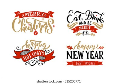Merry Christmas & Happy New Year, Happy holidays greeting card. Lettering celebration logo. Typography for winter holidays. Calligraphic poster on textured background.Postcard motive
