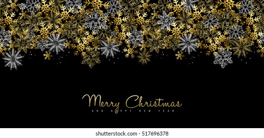 Merry Christmas Happy New Year greeting card design or social media cover with gold snowflake decoration for holiday season. EPS10 vector.