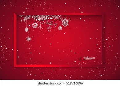 Merry christmas and Happy new year 2017 holiday red sparkling background. Happy holidays banner with snowflakes, branches and berries, red frame and christmas decoration .  Vector illustration.