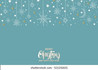Merry Christmas and Happy New Year luxury gold  pattern on blue background with stars and holiday elements in trendy geometric style. Greeting card, invitation, flyer.