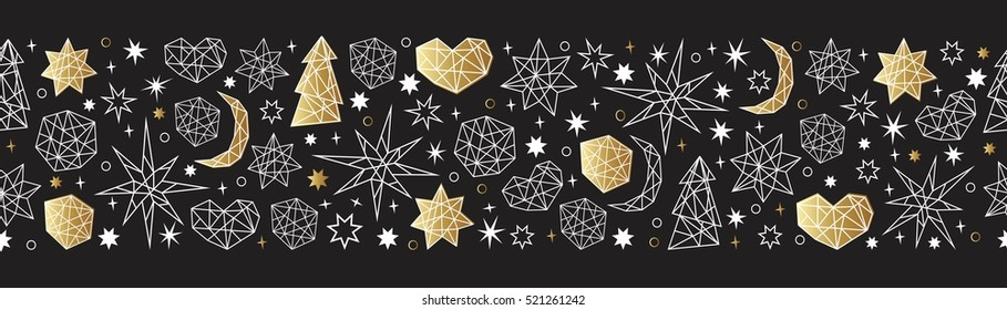 Merry Christmas and Happy New Year luxury gold seamless pattern on the black background with stars, balls, noel, heart and holiday elements in trendy geometric style.