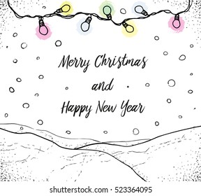 Merry Christmas and Happy New Year hand drawn vector card