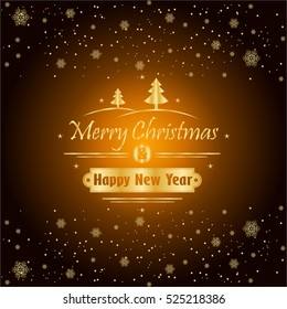 merry christmas and happy new year with gold snowflakes holiday background decorative design for