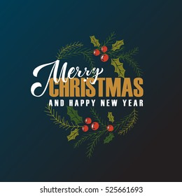 """""""Merry Christmas & Happy New Year"""" greetings card. Lettering celebration logo. Typography which is connected with winter holidays. Calligraphic poster on textured background. Postcard motive."""