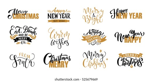 """""""Merry Christmas & Happy New Year"""" greeting card. Lettering celebration logo. Typography which is connected with winter holidays. Calligraphic poster on textured background. Postcard motive."""