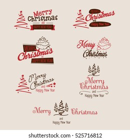 Merry christmas and happy new year signs set. Magenta