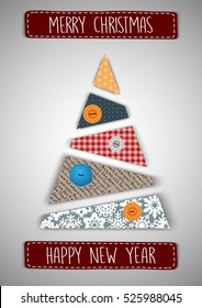 Merry Christmas and Happy New Year Vector Greeting Card Handmade Xmas Tree Application Spruce