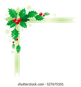 Merry Christmas, Happy new Year corner border banner frame with holly berry leafs. Isolated white background. Abstract xmas poster, greeting card design template. Vector illustration. Merry Christmas.
