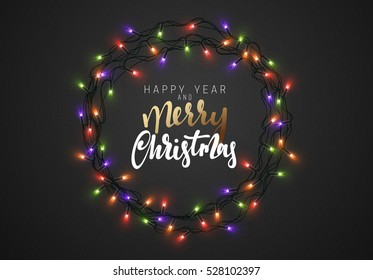 Merry Christmas and Happy New Year. Christmas background black color with realistic garlands. Xmas Holiday.