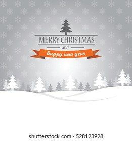 Merry Christmas and Happy New Year greeting card vector design with winter forest