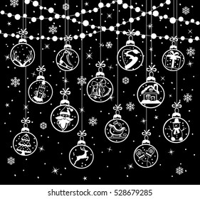 Merry Christmas and Happy New Year winter greeting card background with xmas decoration elements hanging  balls on ropes on circles bulb lights garland in black and white colors